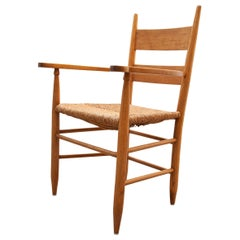 Side Arm Chair with Raffia Seat, Sweden,1960s