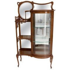 Side by Side Elegant Art Nouveau Style Bookcase Mirrored Bowed Glass Door Curio