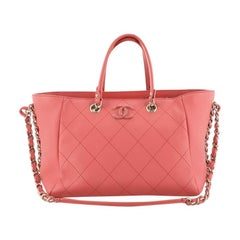 Side Chain Shopping Tote Quilted Bullskin Small