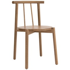 Side Chair, Dinning Chair Crafted in Solid Oak Wood Designed by Luis Vega