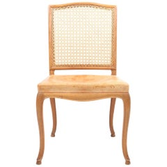 Side Chair in Patinated Leather and Oak by Frits Henningsen, Danish Design 1940s