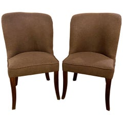 Karl Springer Style MCM side Gray Chairs, a Pair