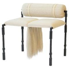 Side Chair Modern Medieval Handmade Horsehair Iron Handwoven Fringe Accent Mane