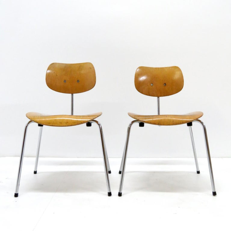 Mid-Century Modern Side Chairs by Egon Eiermann for Wilde & Spieth For Sale