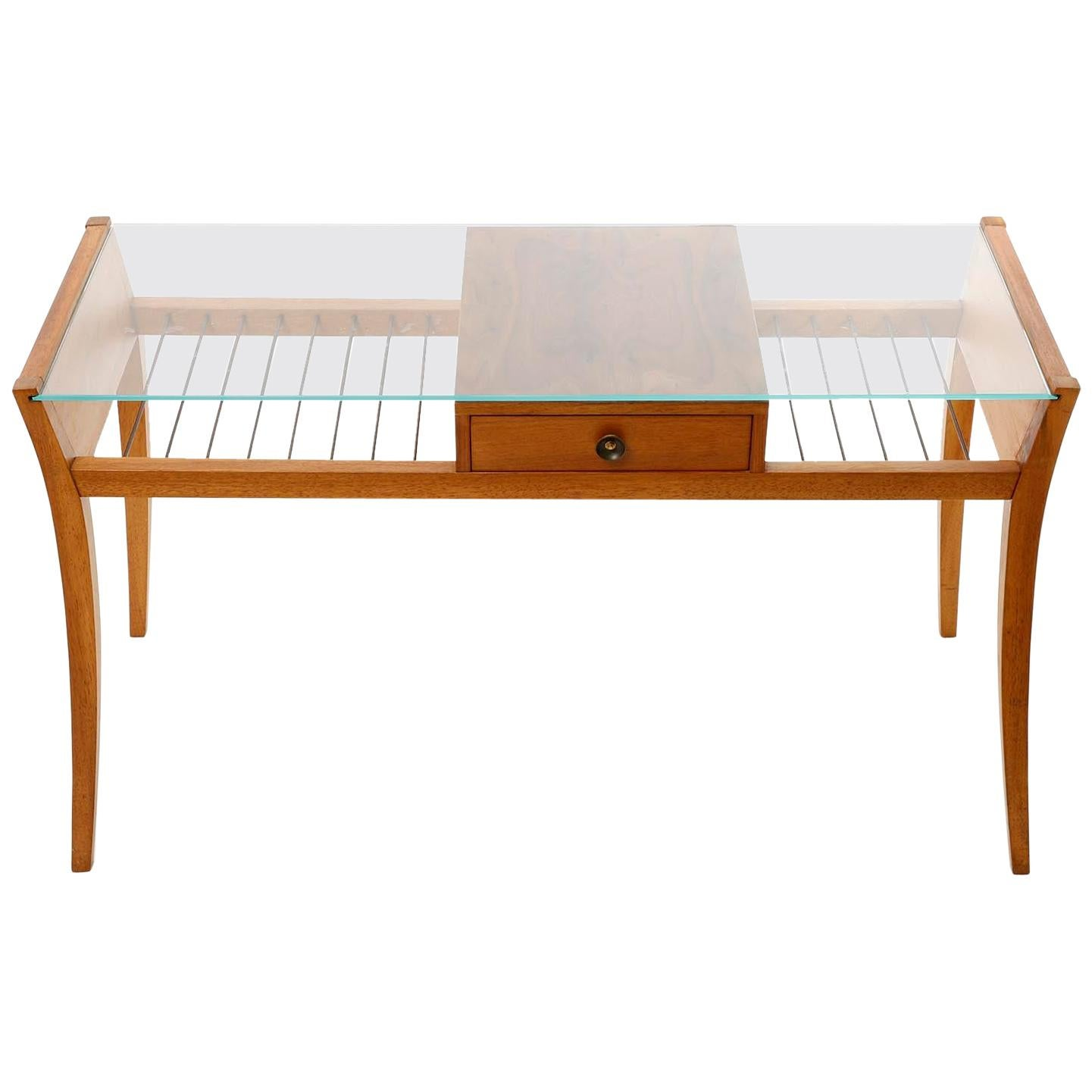 Side Coffee Table, Walnut Wood Brass Glass, 1950s