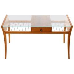 Side Coffee Table, Walnut Wood Brass Glass, 1950s
