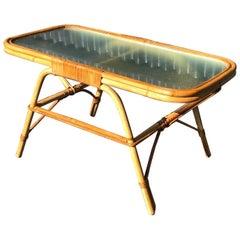 Mid century Side End Rattan table Dirk Van Sliedrecht for Rohe Noordewolde, 1960