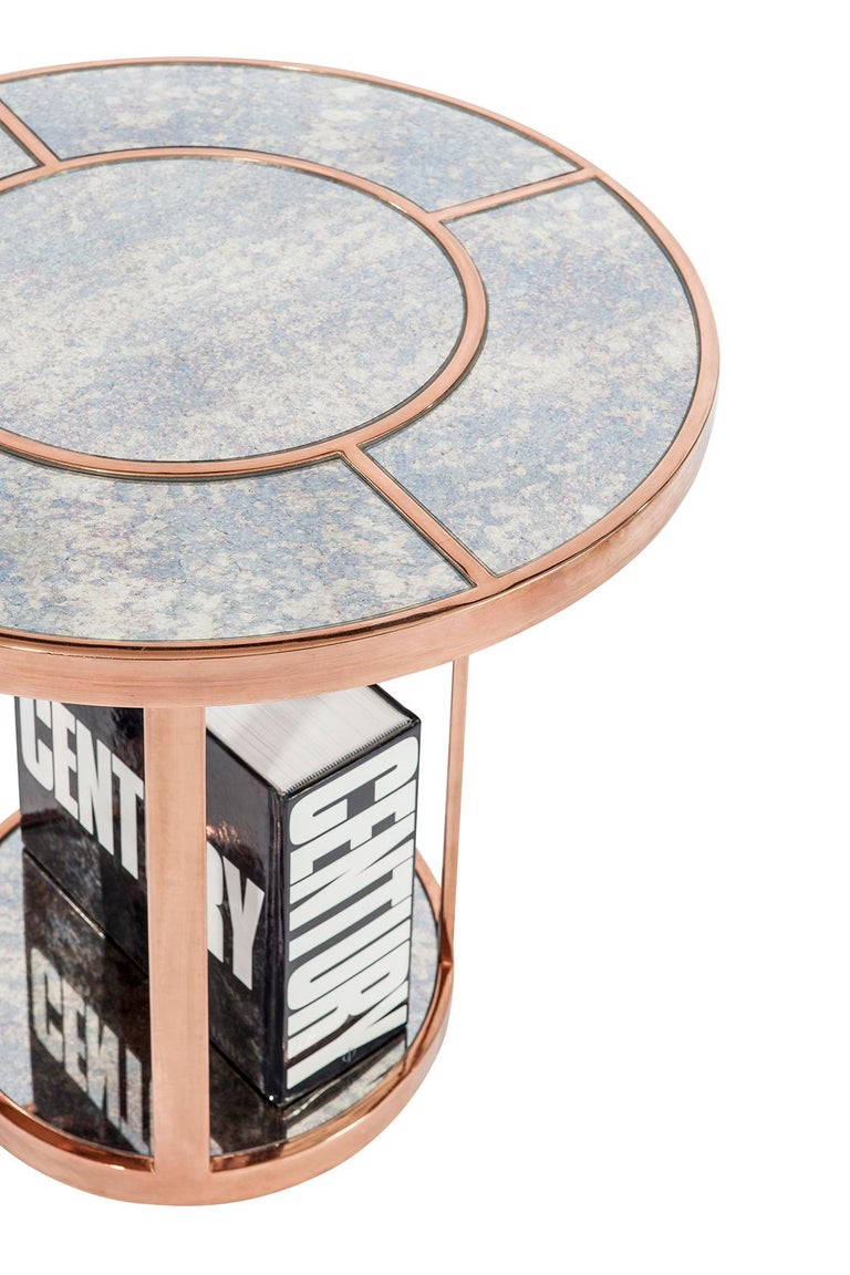 Art Deco state of the side table with vintage mirror top and brass / chrome / rose gold plated body.