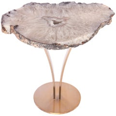 Side or Cocktail Table, Brazilian Agate with Gold Color Metal Base