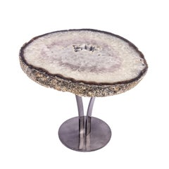 Side or Cocktail Table, Brazilian Agate with Smoky Grey Color Metal Base