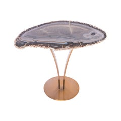 Side or Cocktail Table, Organic Shape Brazilian Agate with Gold Color Metal Base