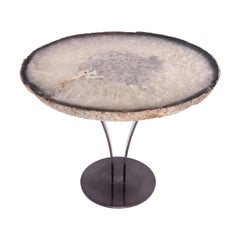 Side or Cocktail Table, Oval Brazilian Agate with Smoky Grey Color Metal Base