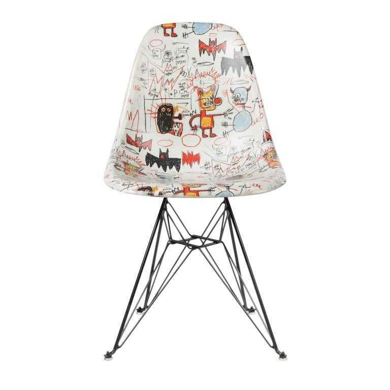 Modernica Jean-Michel Basquiat Case Study Furniture Side Shell Eiffel chair, 2019, offered by Artware Editions