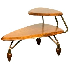 Mid Century Modern Side Step Table in Walnut and Brass after John Keal