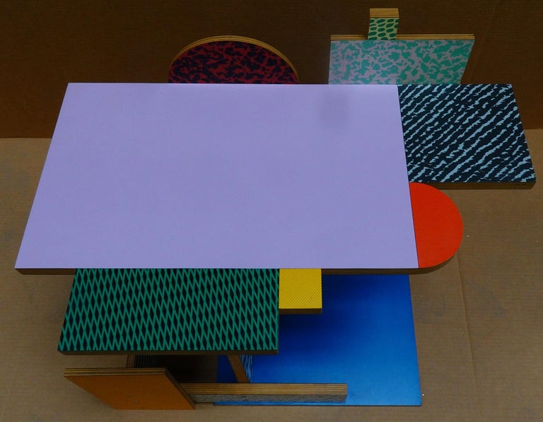Painted 'Side Table 9' Side Table by Peter Shire, 1984 For Sale