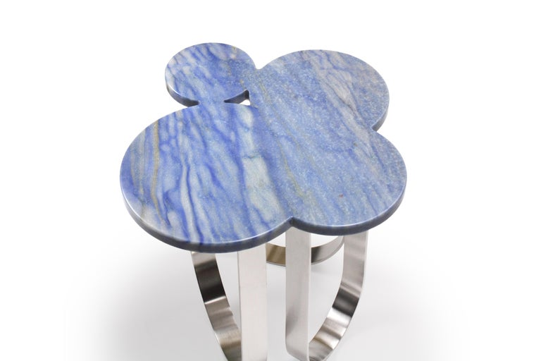 Modern Side Table Azul Macaubas and Polished Stainless Steel Contemporary Design For Sale
