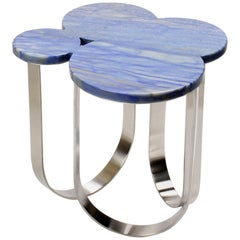 Side Table Azul Macaubas and Polished Stainless Steel Contemporary Design