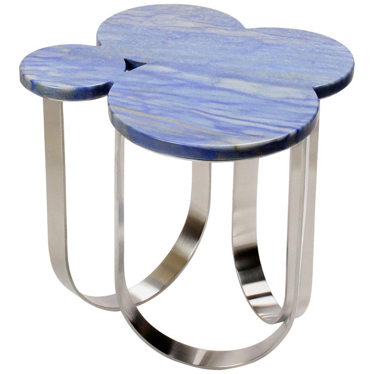 Side Table Azul Macaubas and Polished Stainless Steel Contemporary Design For Sale
