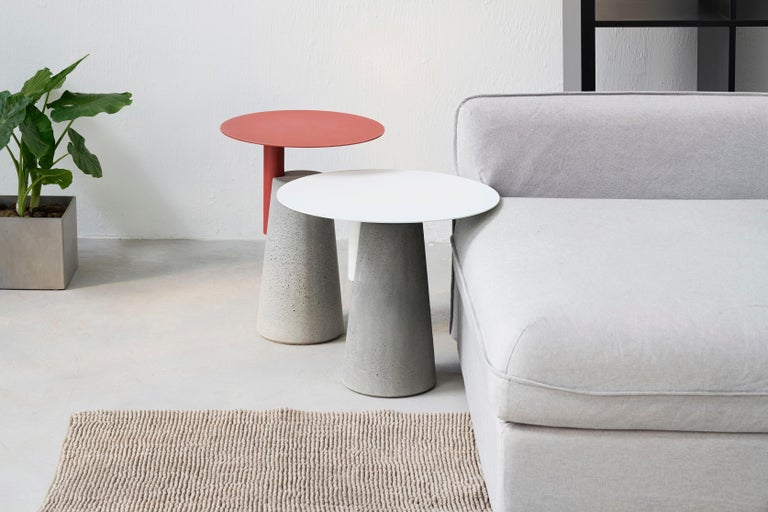 Industrial Side Table 'BAI' Made of Concrete and Steel 'Small' '+Colors' For Sale