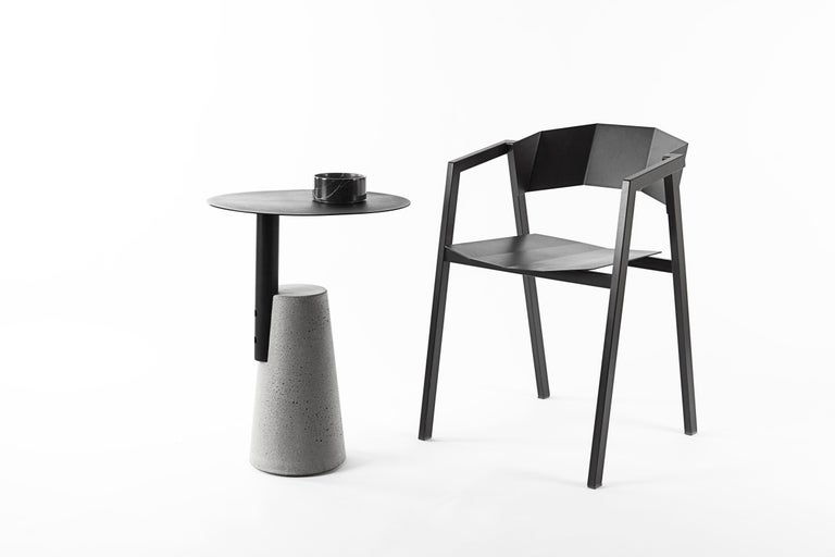 Contemporary Side Table 'BAI' Made of Concrete and Steel 'Small' '+Colors' For Sale