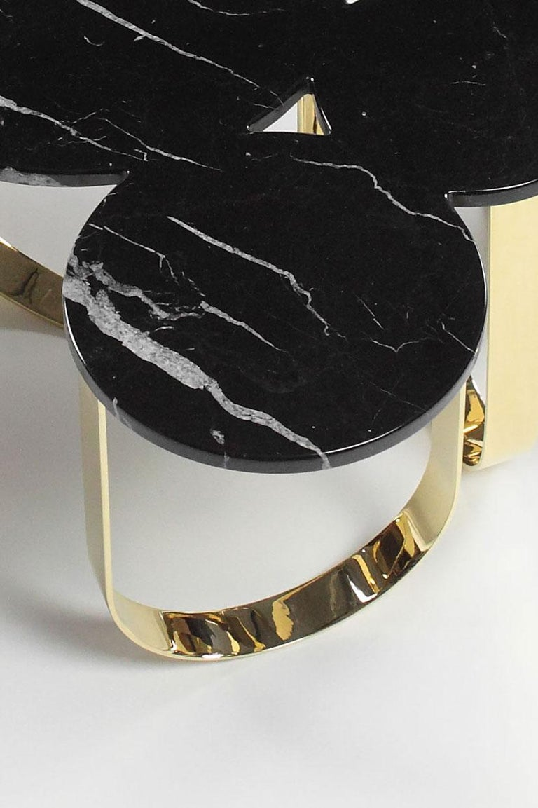 Modern Side Table Black Marquinia Marble and Polished Brass Contemporary Design For Sale
