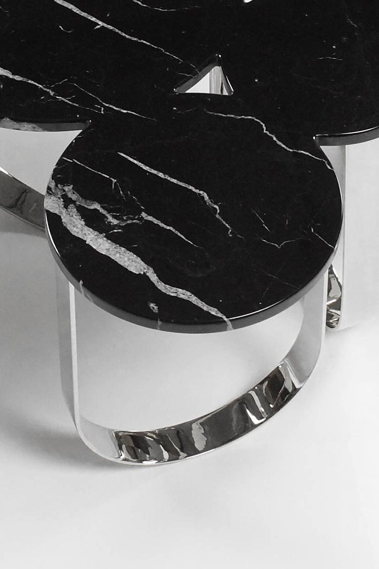 Side Table Black Marquinia Marble and Polished Brass Contemporary Design For Sale 2