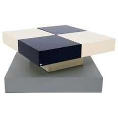Side Table by Cesare Augusto Nava in White and Blue Lacquered Wood, Certificate