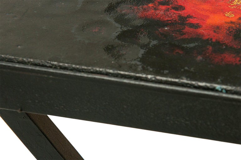 Mid-20th Century Side Table by Jean and Robert Cloutier, Ceramic on Lava, Red, Black, France 1950 For Sale