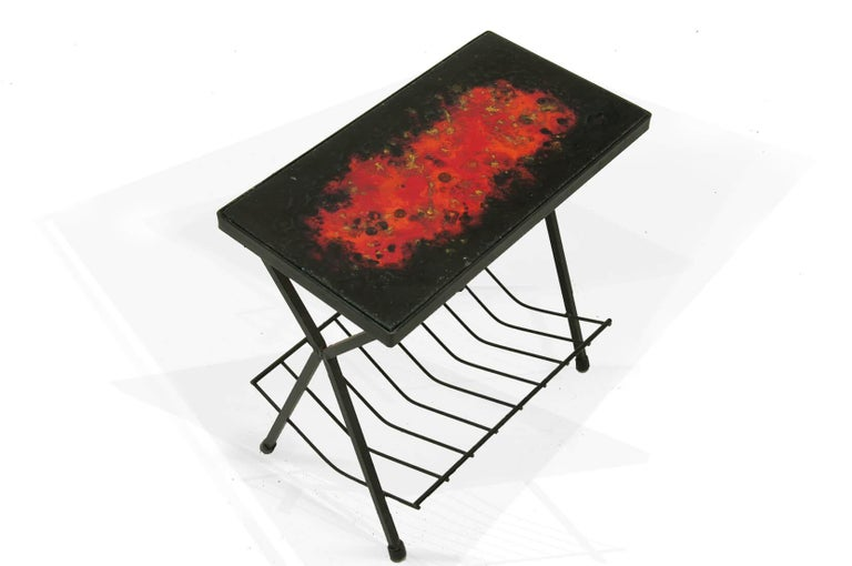 Side Table by Jean and Robert Cloutier, Ceramic on Lava, Red, Black, France 1950 For Sale 2