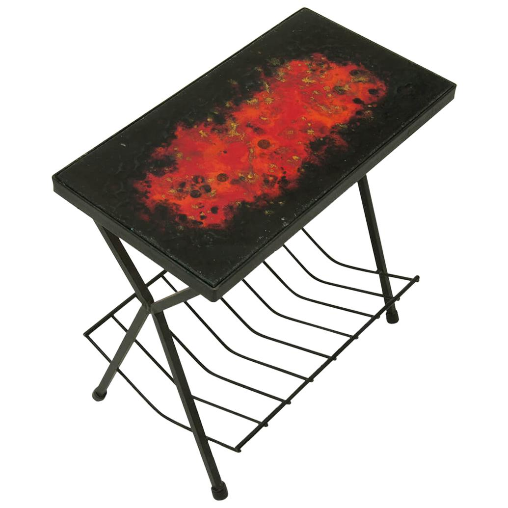 Side Table by Jean and Robert Cloutier, Ceramic on Lava, Red, Black, France 1950