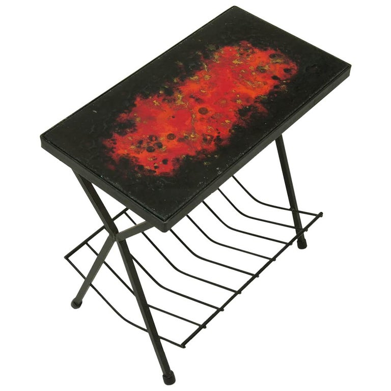 Side Table by Jean and Robert Cloutier, Ceramic on Lava, Red, Black, France 1950 For Sale