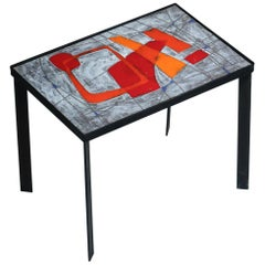 Side Table by Jean and Robert Cloutier Enameled Lava Stone