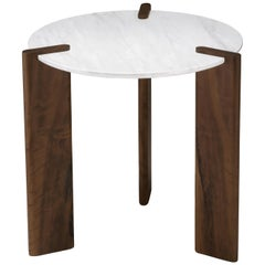 Side Table by Juliana Vasconcellos in Brazilian Solid Wood and Carrara Marble