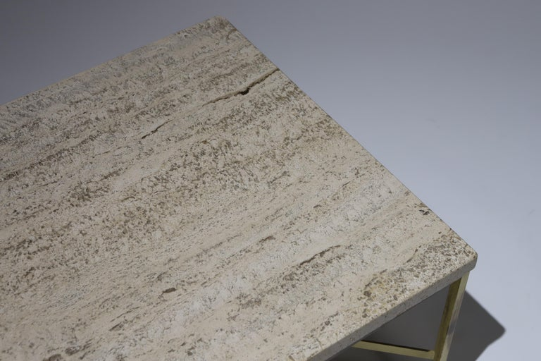 Small travertine and brass side table or cocktail table designed by Paul McCobb for Calving.