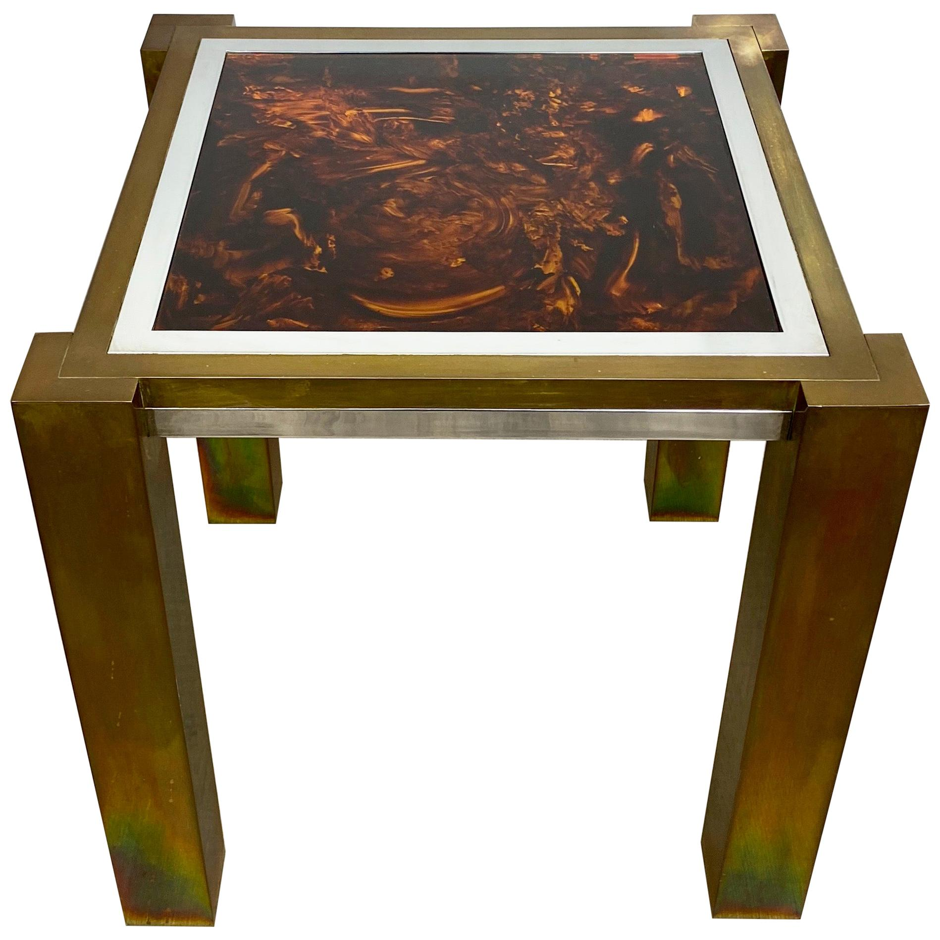 Side Table by Romeo Rega in Faux Tortoise Shell Brass Chrome, Italy, 1970s
