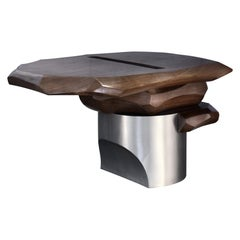 Side Table by Todomuta Studio Medium Size American Walnut Aluminum Brown&Silver