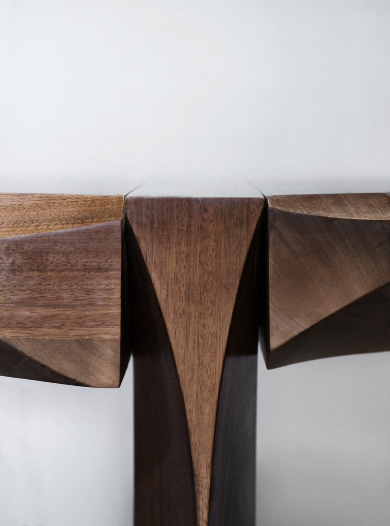 Side Table by Todomuta Studio Small Size American Walnut Aluminum Brown & Silver In New Condition For Sale In Beverly Hills, CA