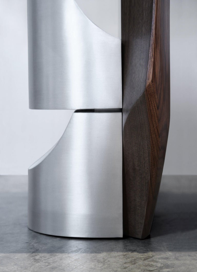 Side Table by Todomuta Studio Small Size American Walnut Aluminum Brown & Silver For Sale 1