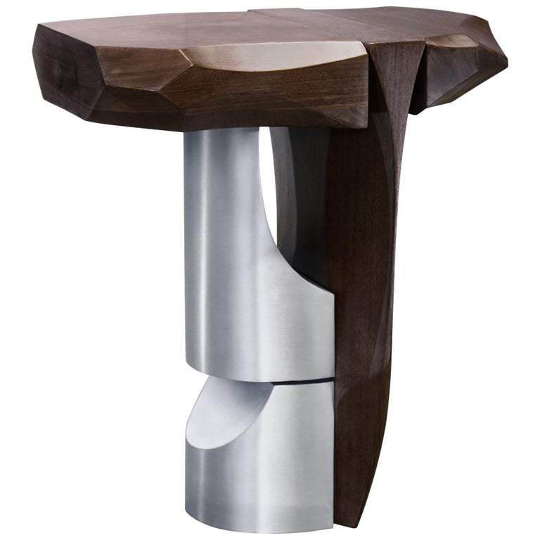 Side Table by Todomuta Studio Small Size American Walnut Aluminum Brown & Silver For Sale