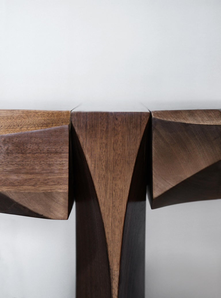 Side Table by Todomuta Studio Small Size American Walnut Aluminum Brown & Silver In New Condition For Sale In Los Angeles, CA