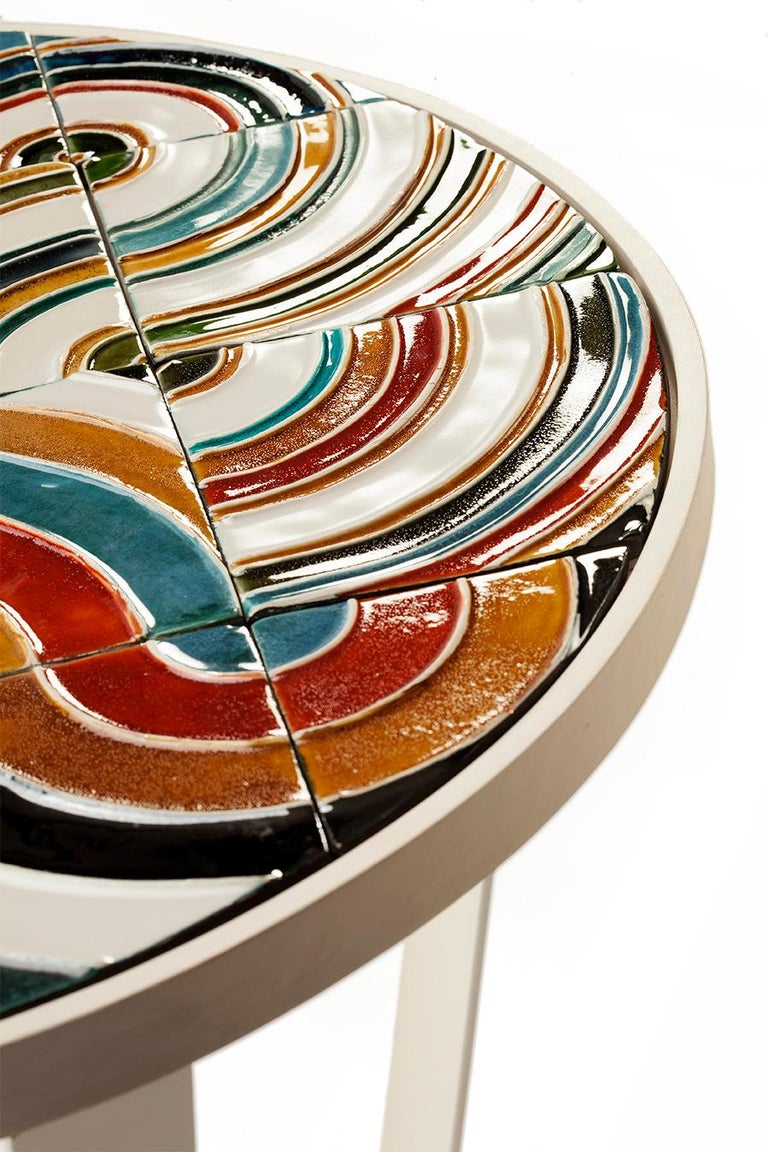 Side Table Caldas Round with Portuguese Tiles 2