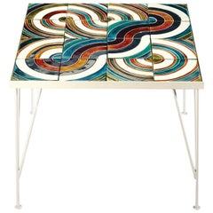 Side Table Caldas Square with Portuguese Tiles for Outdoors