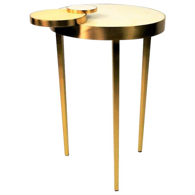 Side Table CIRCULO in Rock Crystal and Brass by Ginger Brown