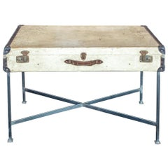 Side Table Crafted with Vintage French Luggage and Custom Iron Base