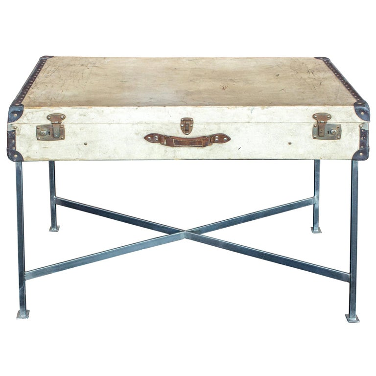 Side Table Crafted with Vintage French Luggage and Custom Iron Base For Sale