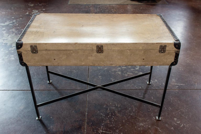 Side Table Crafted with Vintage French Luggage and Custom Iron Base For Sale 5