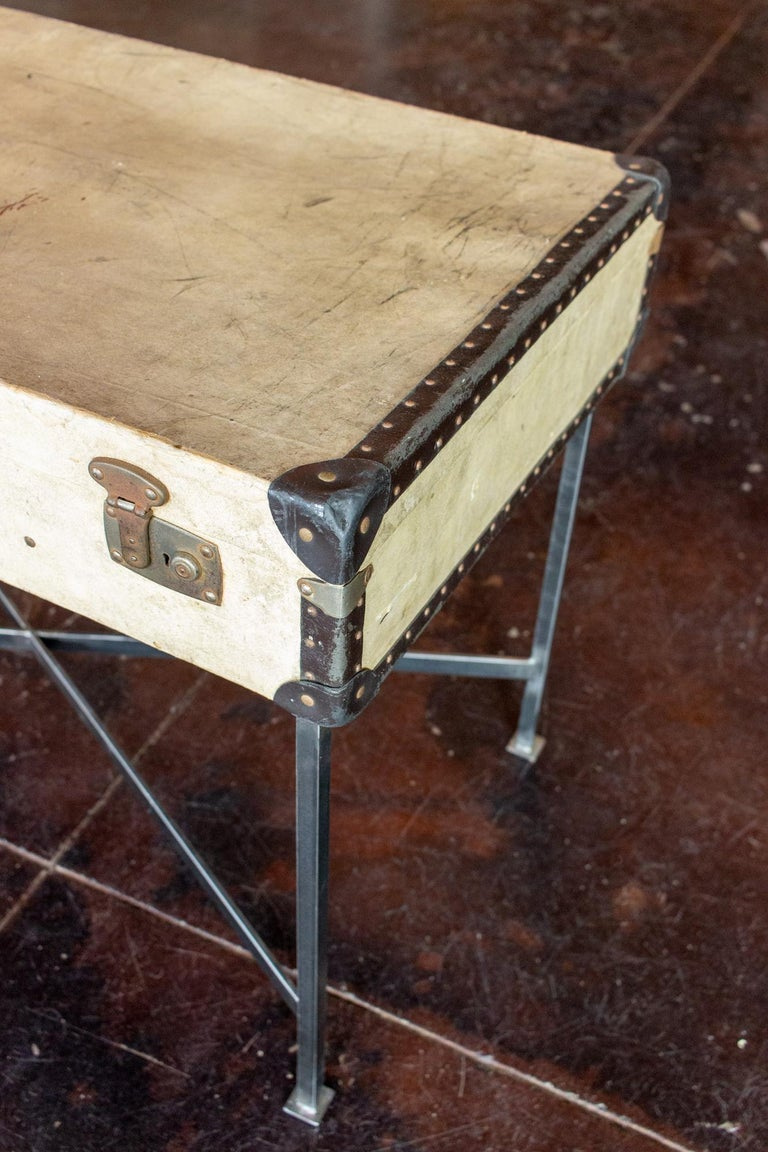 Side Table Crafted with Vintage French Luggage and Custom Iron Base For Sale 9