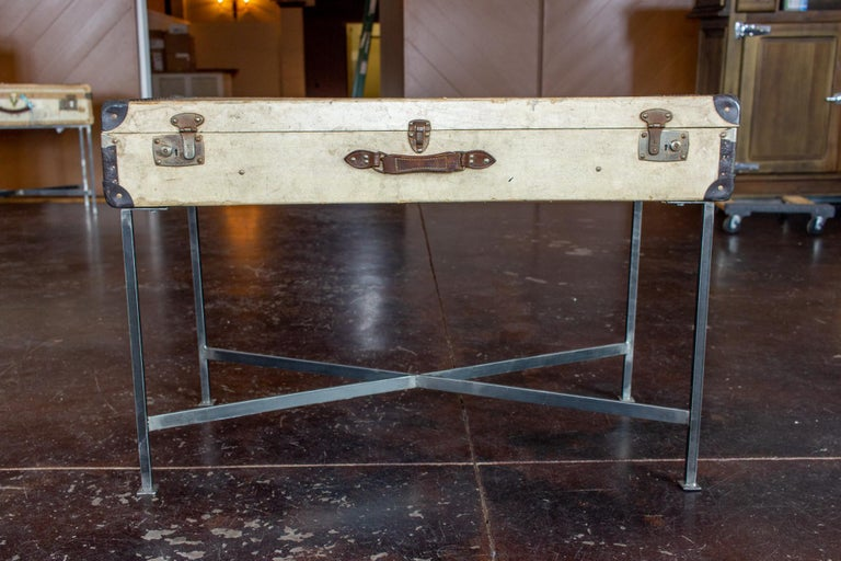 Side Table Crafted with Vintage French Luggage and Custom Iron Base In Good Condition For Sale In Houston, TX