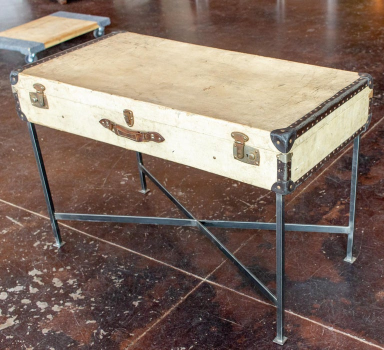 20th Century Side Table Crafted with Vintage French Luggage and Custom Iron Base For Sale