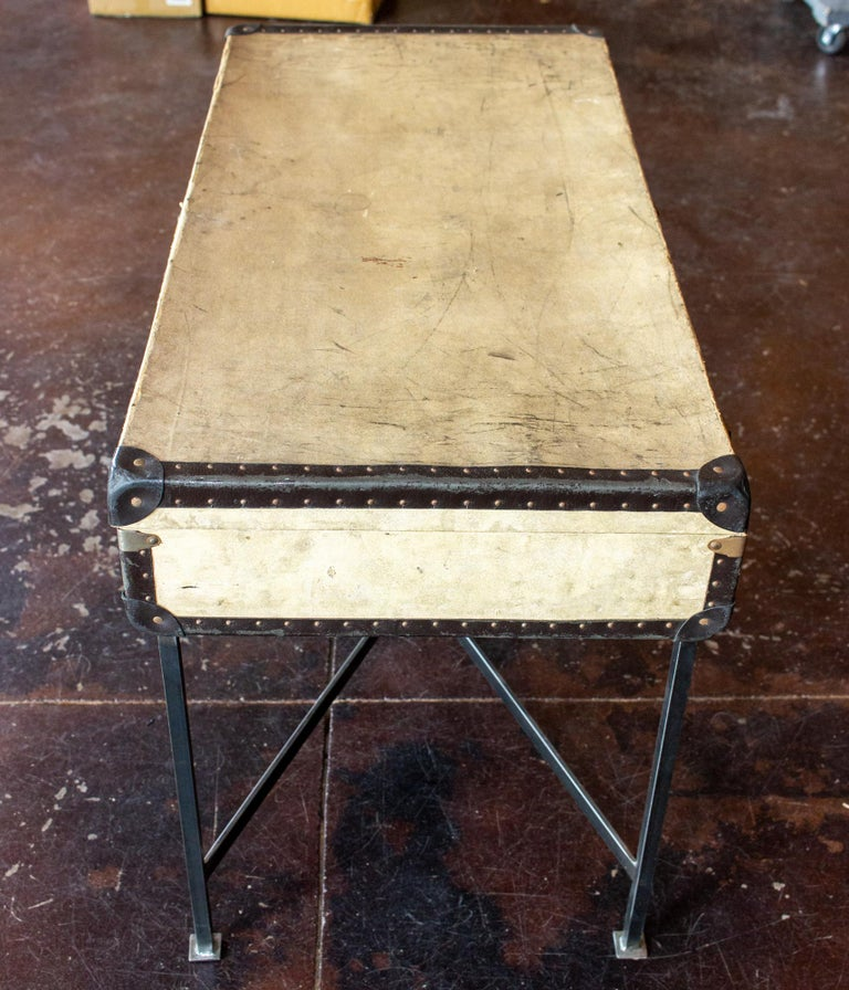 Leather Side Table Crafted with Vintage French Luggage and Custom Iron Base For Sale
